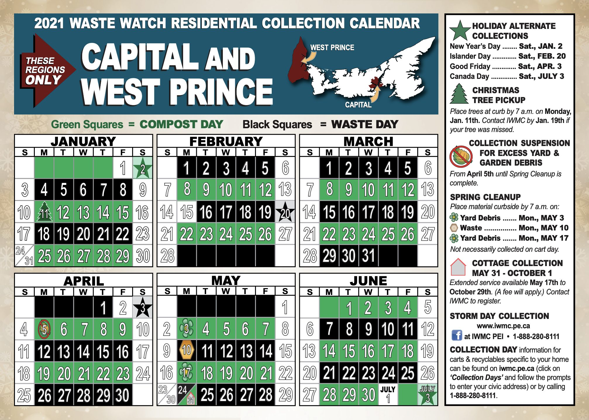 Capital and West Prince garbage collection days calendar for 2020 IWMC